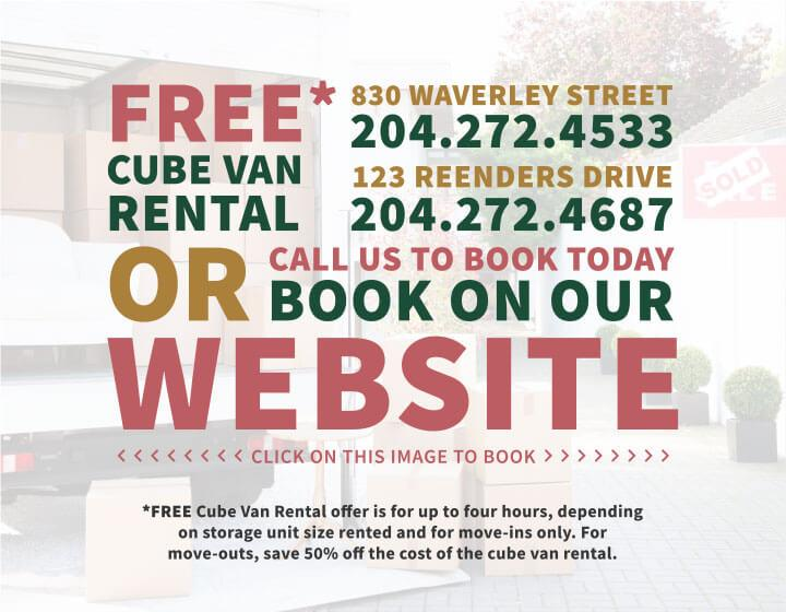 Free Cube Van Rental - Book our website - Moving Van - Winnipeg Storage - StorageVille